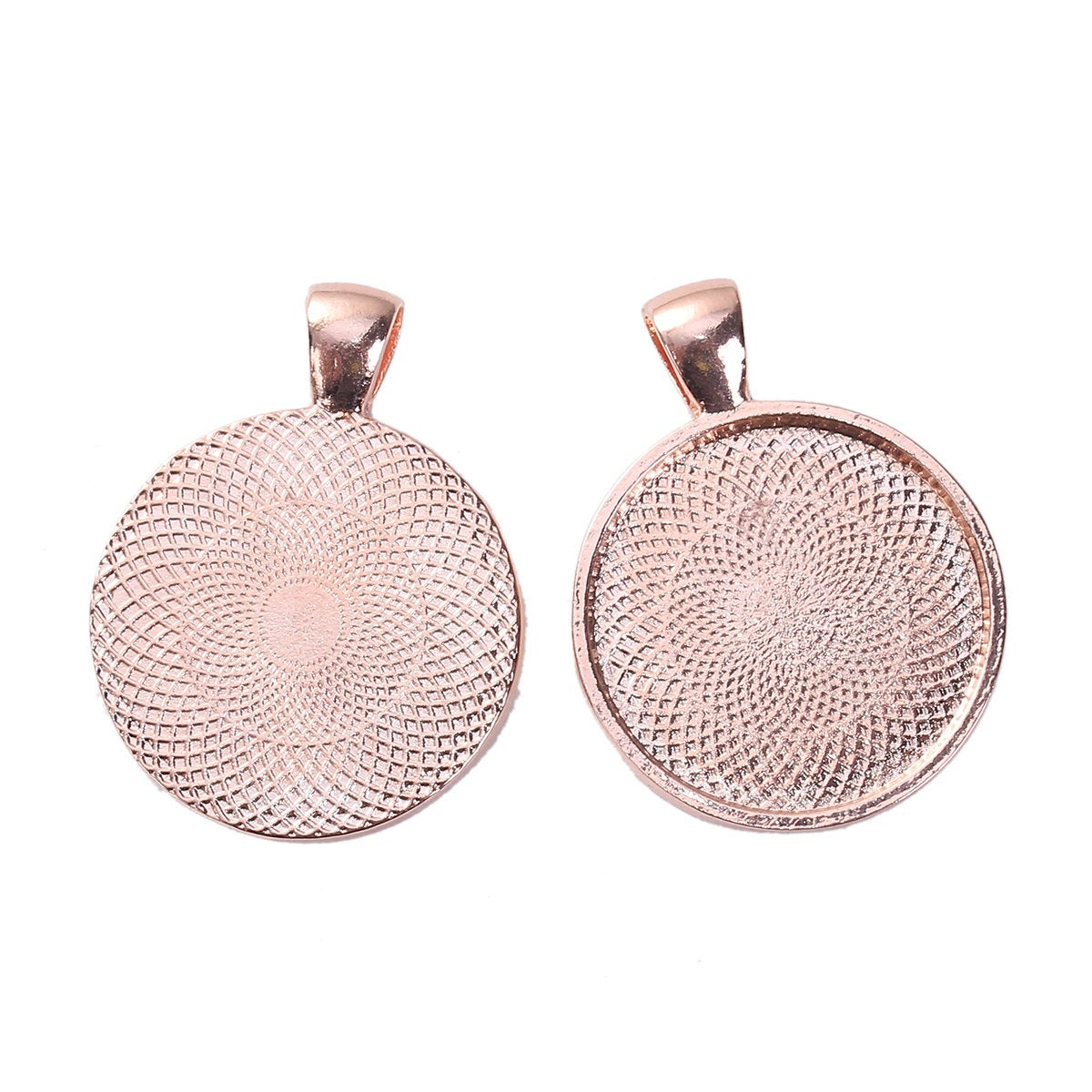 10 Rose Gold Cabochon Bezel Pendant Trays 25mm - Round 1 inch
