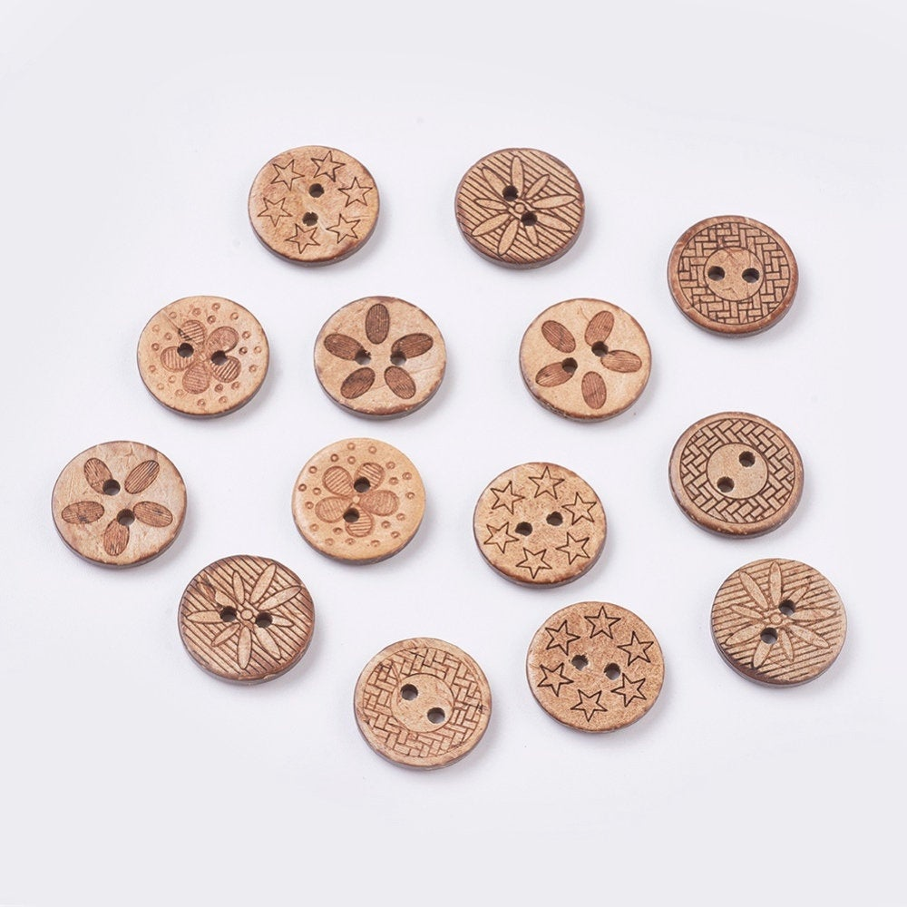 10 Bulk Mixed Coconut Shell Wooden Buttons - 17mm (5/8 inch) - 2 Hole