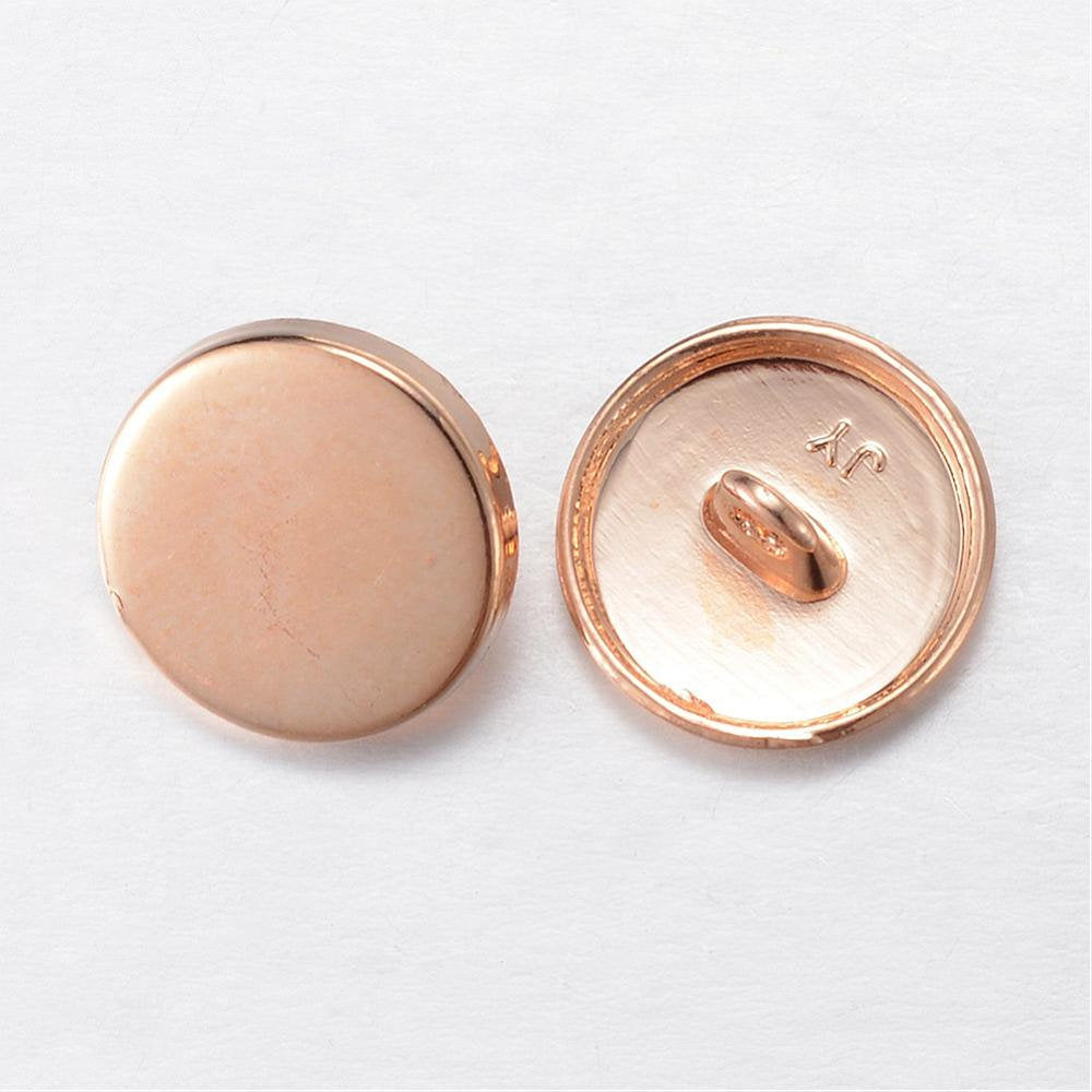 "Gold Finish Metal Buttons Shank 15mm in Diameter (1/2"" inch)"
