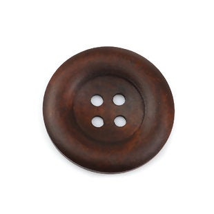 Large Dark Brown Coffee Wooden Button - 35mm - 1 3/8 inch -  4 hole
