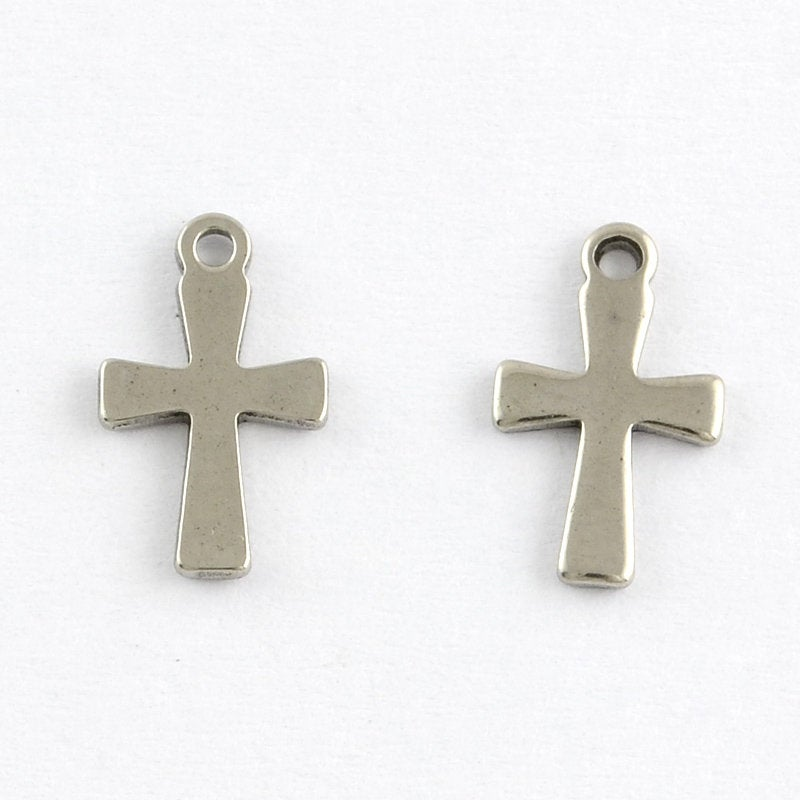Small Stainless Steel Silver Cross Pendant - 12mm x 7mm - Tiny Metal Cross (STAS-Q168