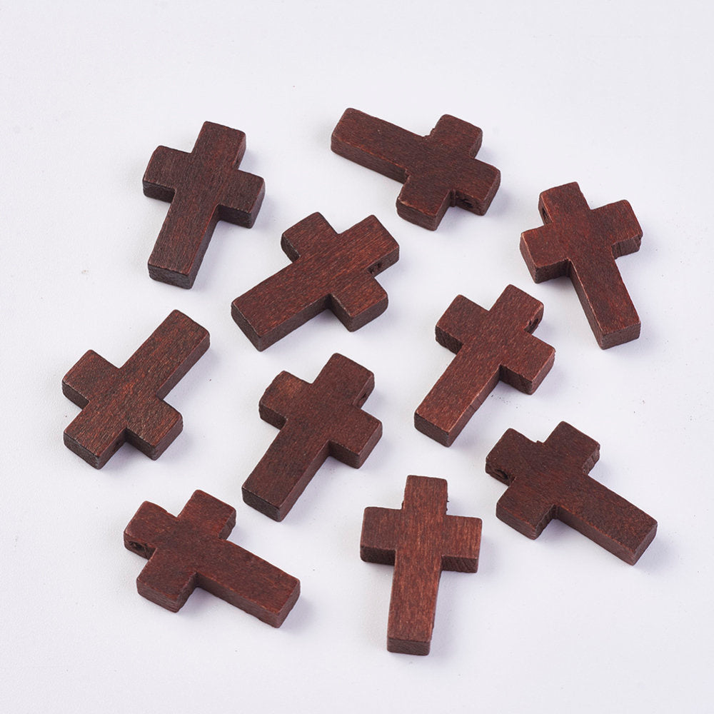Wood Cross Pendant, Dark Brown, Wood Cross, Easter Crafts, Small Wood Cross, Pendant, 22mm x 15mm Hole: 2.5mm WOOD-WH0020