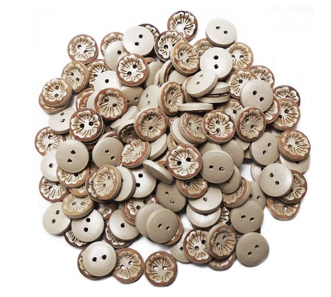 Flower Wooden Buttons - Laser Carved - 15mm - 2 Hole - Wood Button