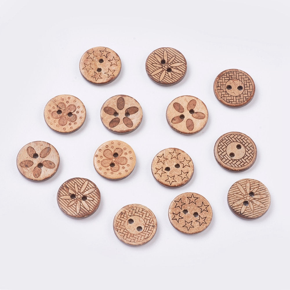 50 Bulk Mixed Coconut Shell Wooden Buttons - 17mm (5/8 inch) - 2 Hole