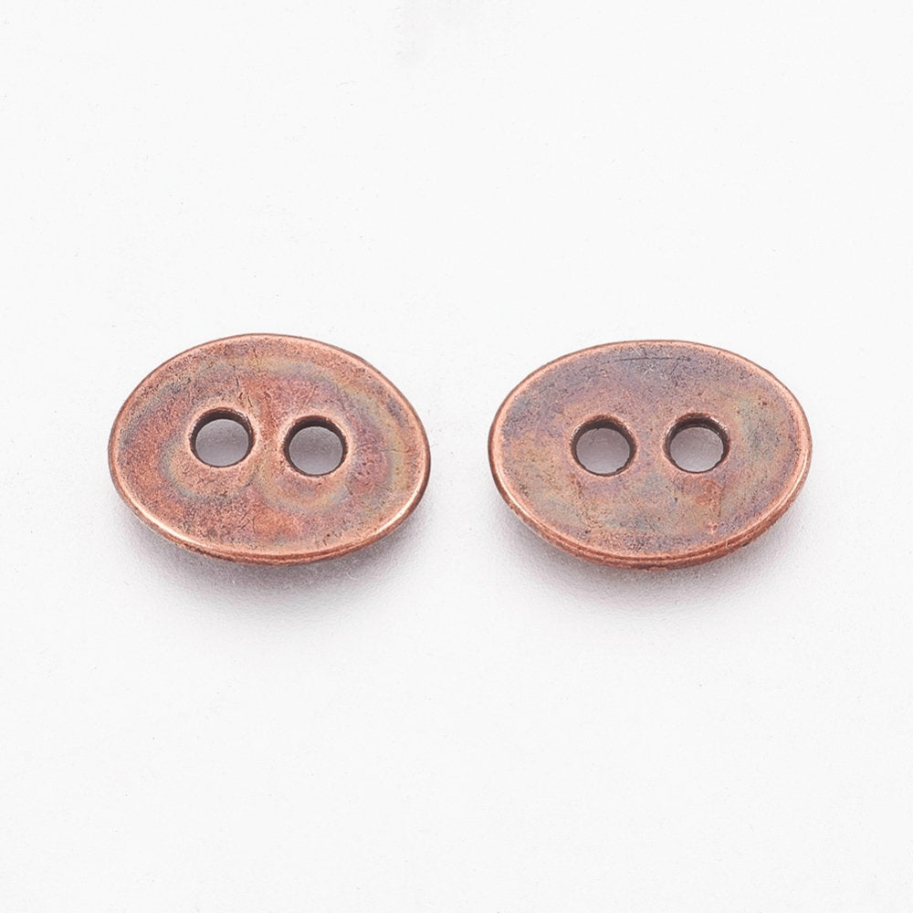 "Copper Oval Buttons 14mm x 12mm (1/2""x 3/8"") - 2 hole Metal Button - Lead, Nickel, Cadmium Safe (623-R"