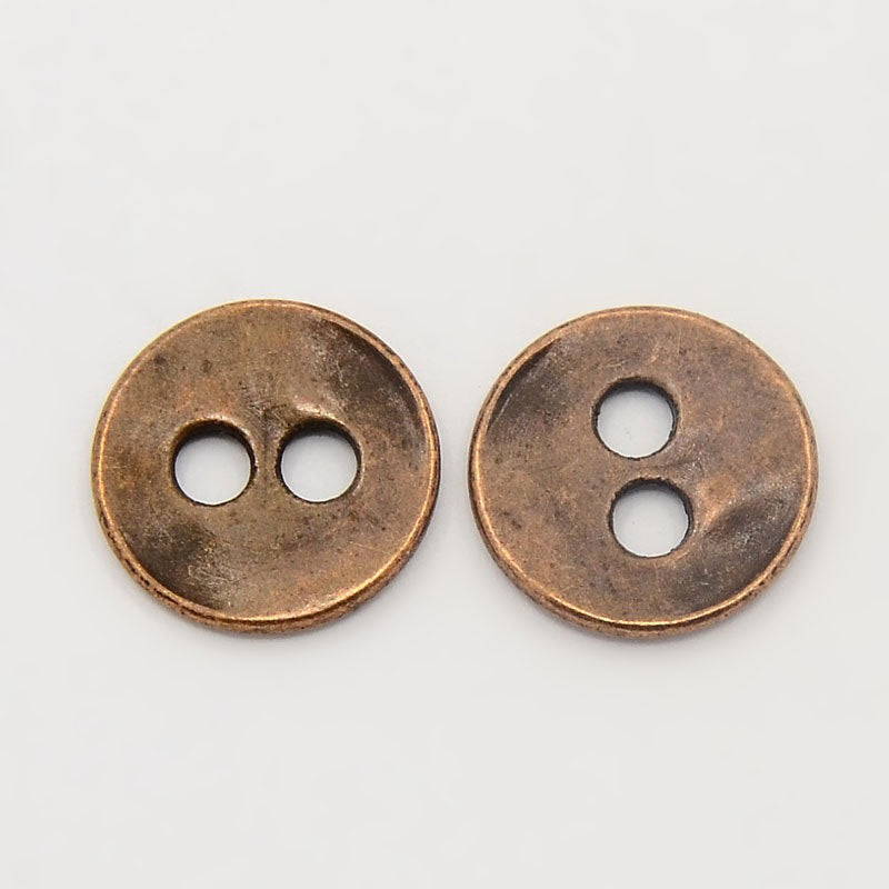 Copper Round Buttons 13mm x 2mm, Hole: 2.5mm - 2 hole Metal Button - Lead, Nickel, Cadmium Safe (R178-R