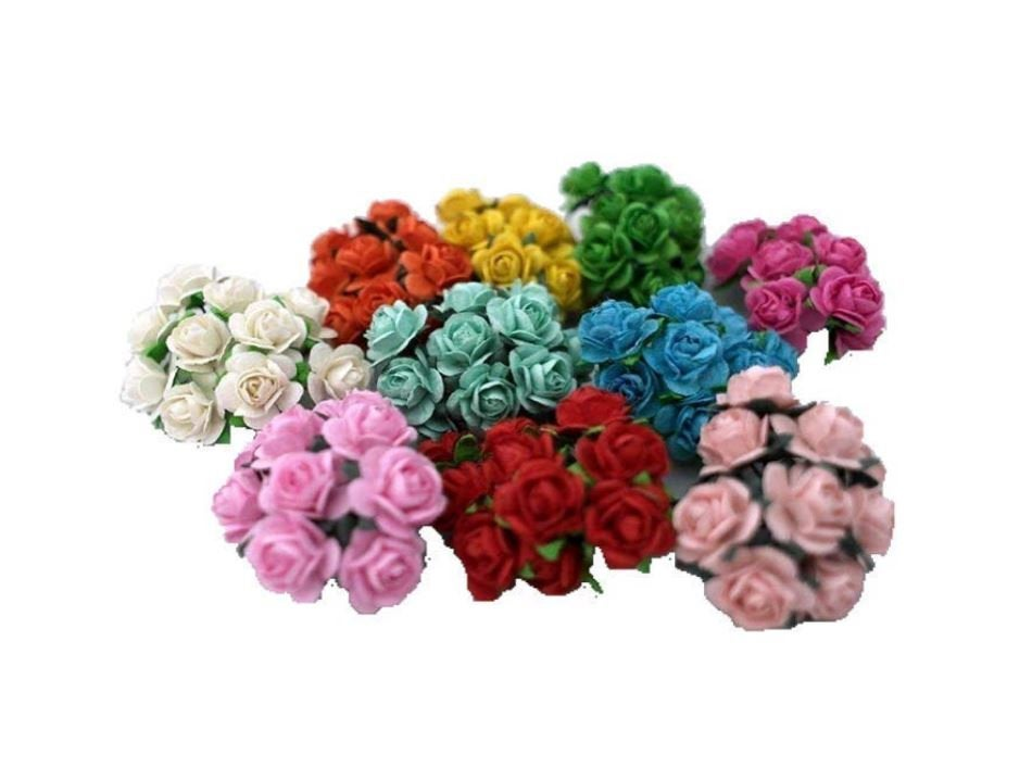 Mini Paper Flowers - 15mm - Small Paper Roses - Tiny Paper Roses