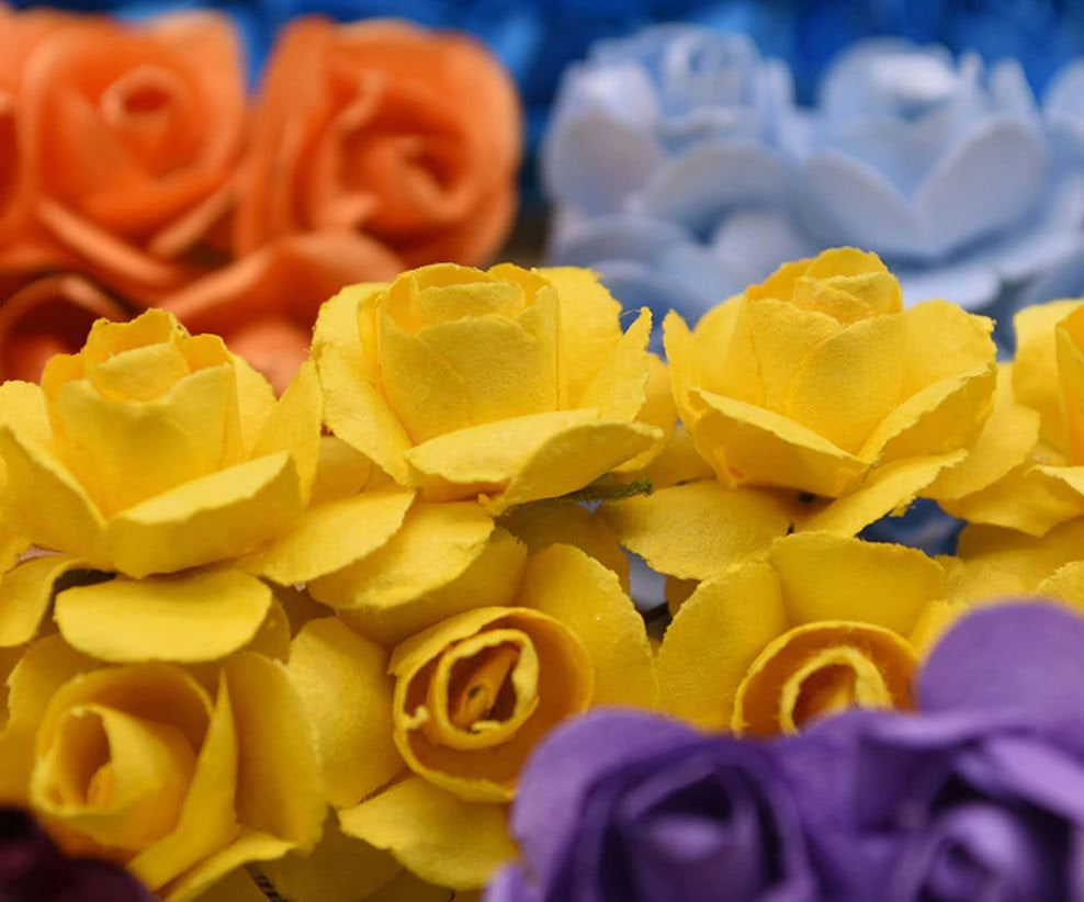 Orange Mini Paper Flowers - 15mm - Small Paper Roses