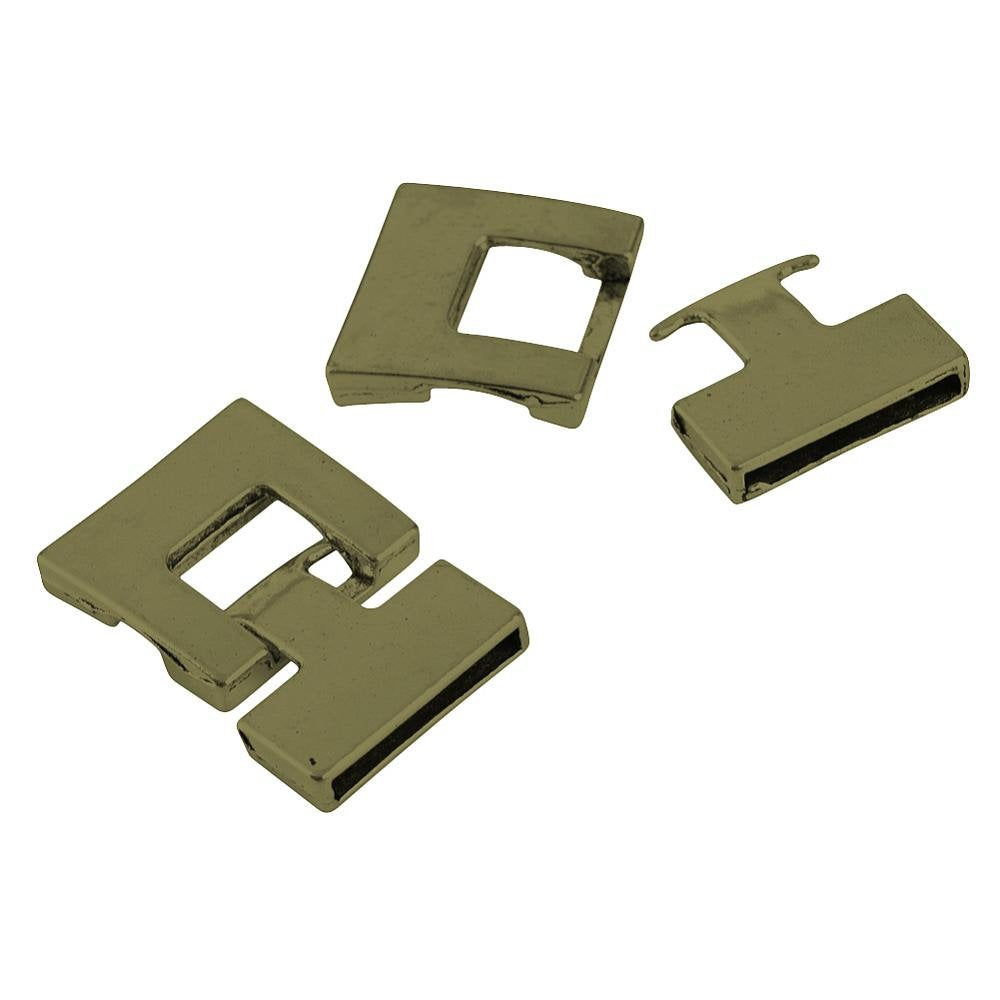 Snap Lock Bronze Clasp - Lead Free - 34mm long, 22~22.5mm wide, 4mm thick - Rectangle Clasp for Leather Cord or Bracelet TIBEP-S298