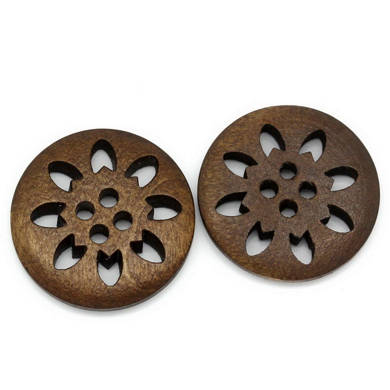 10 Brown Carved Wooden Buttons - 25mm (Approx. 1 inch) - 2 Hole - Brown Wood Button (B21317
