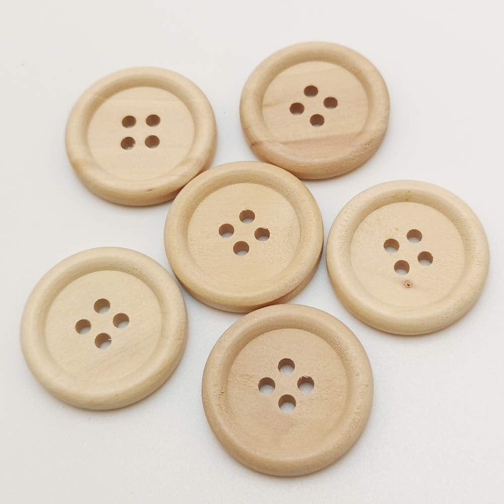 Natural Wooden Buttons - 25mm (1 inch) - 4 Hole
