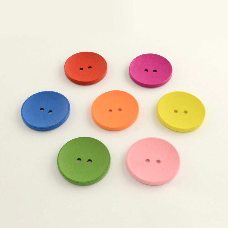 Extra Large Mixed Color Wooden Buttons - 40mm (1 1/2 inch) -  Multi Colored Mixed Buttons - 2 Hole
