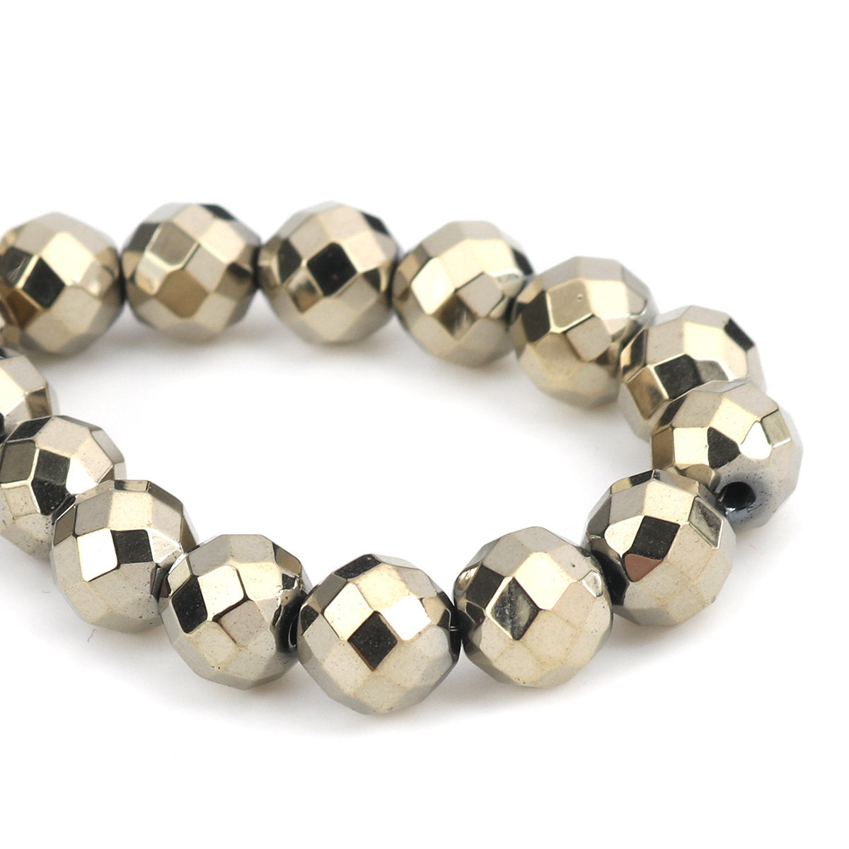 Spacer Beads (One Strand) - 10mm - Hematite - Faceted
