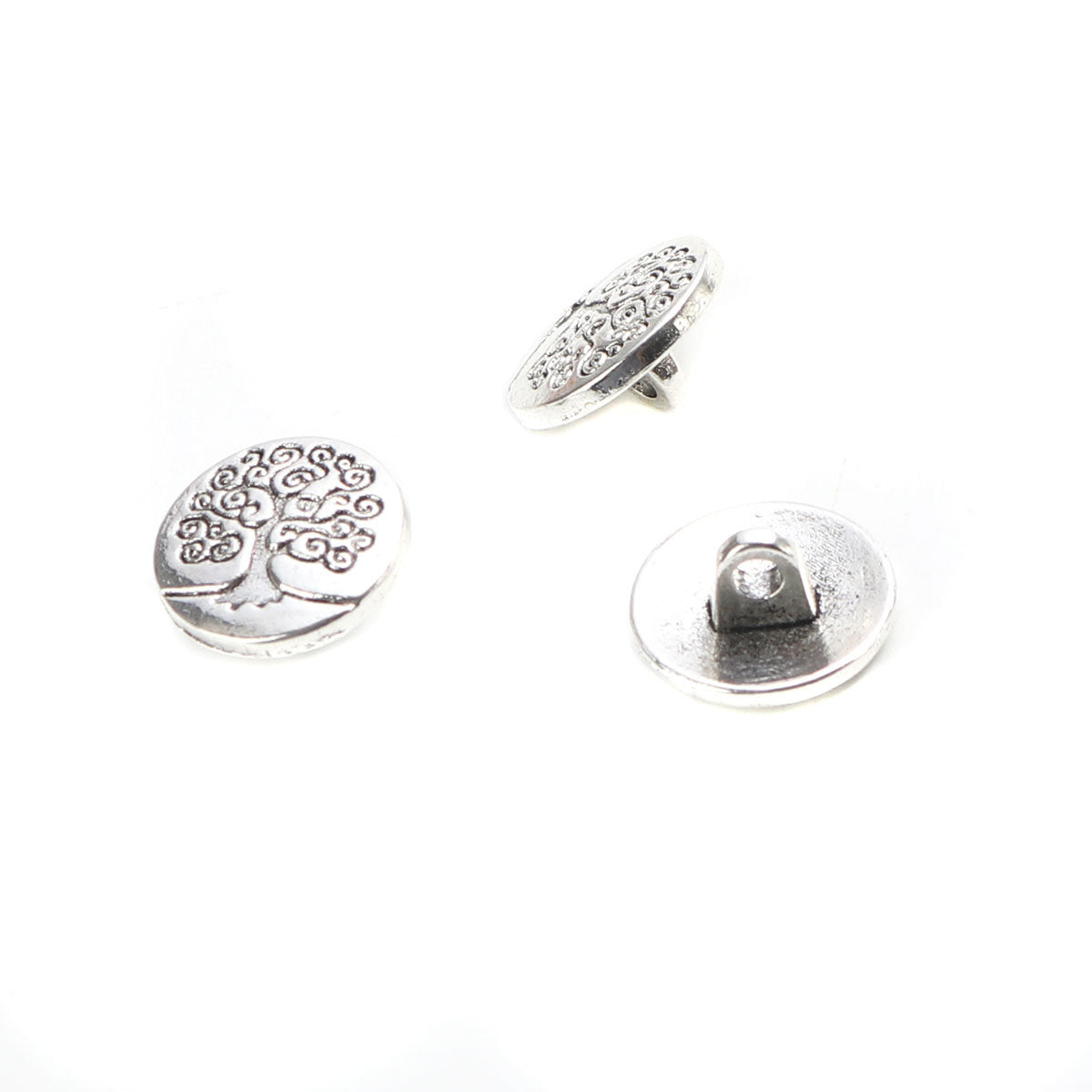 Tree of Life Silver Metal Sewing Buttons Round - Lead and Nickel Free - Antique Silver - Shank