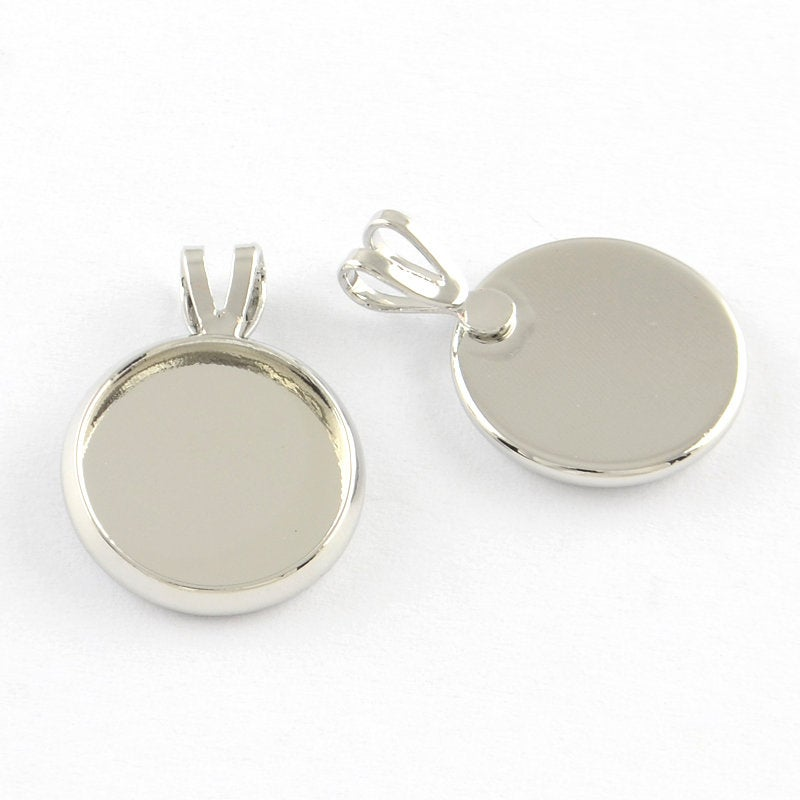 Pendant Tray Cabochon Sets - Silver - 12mm
