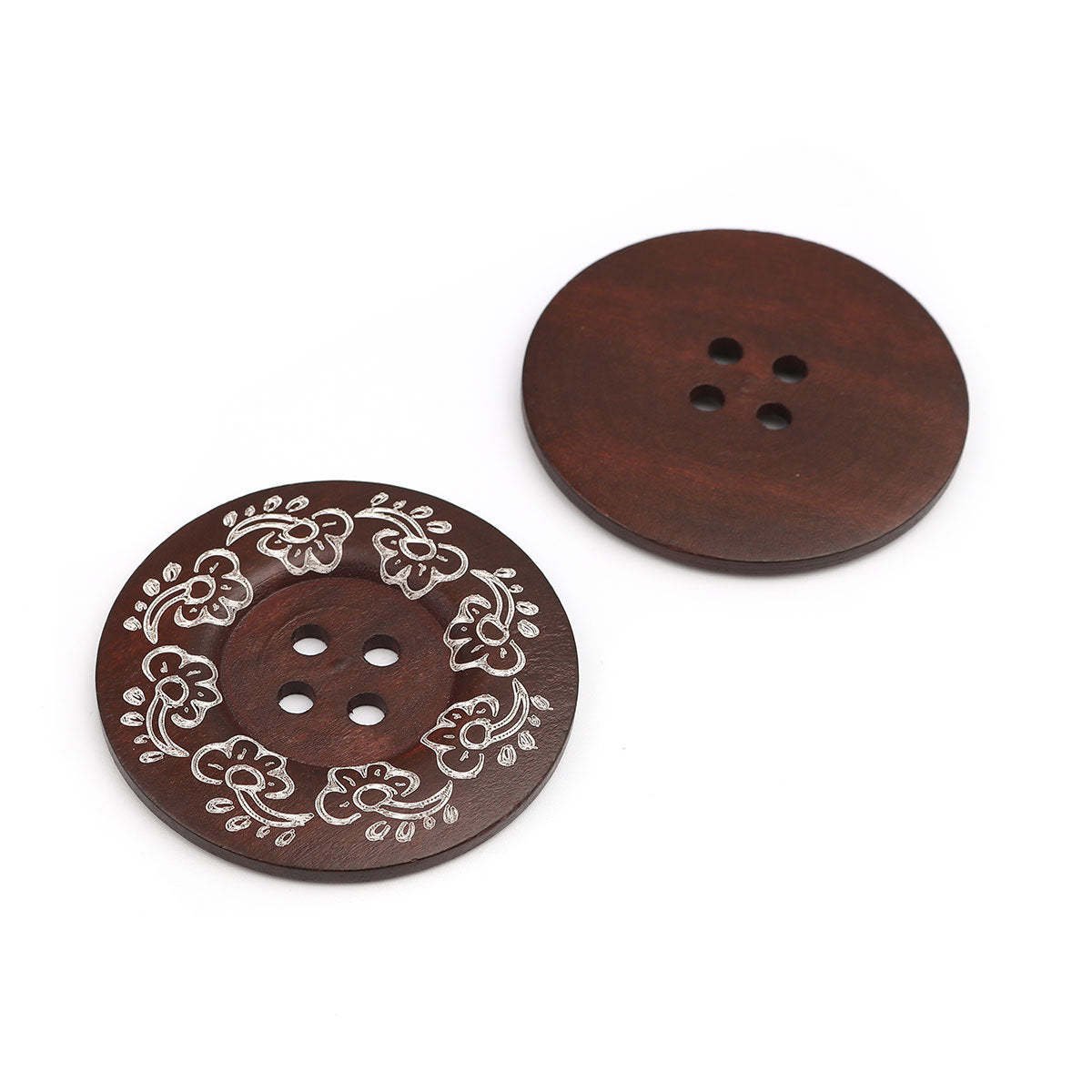 Extra Large Brown Wooden Buttons - Flower Design - 2 3/8 inch - 6cm - Wood Buttons