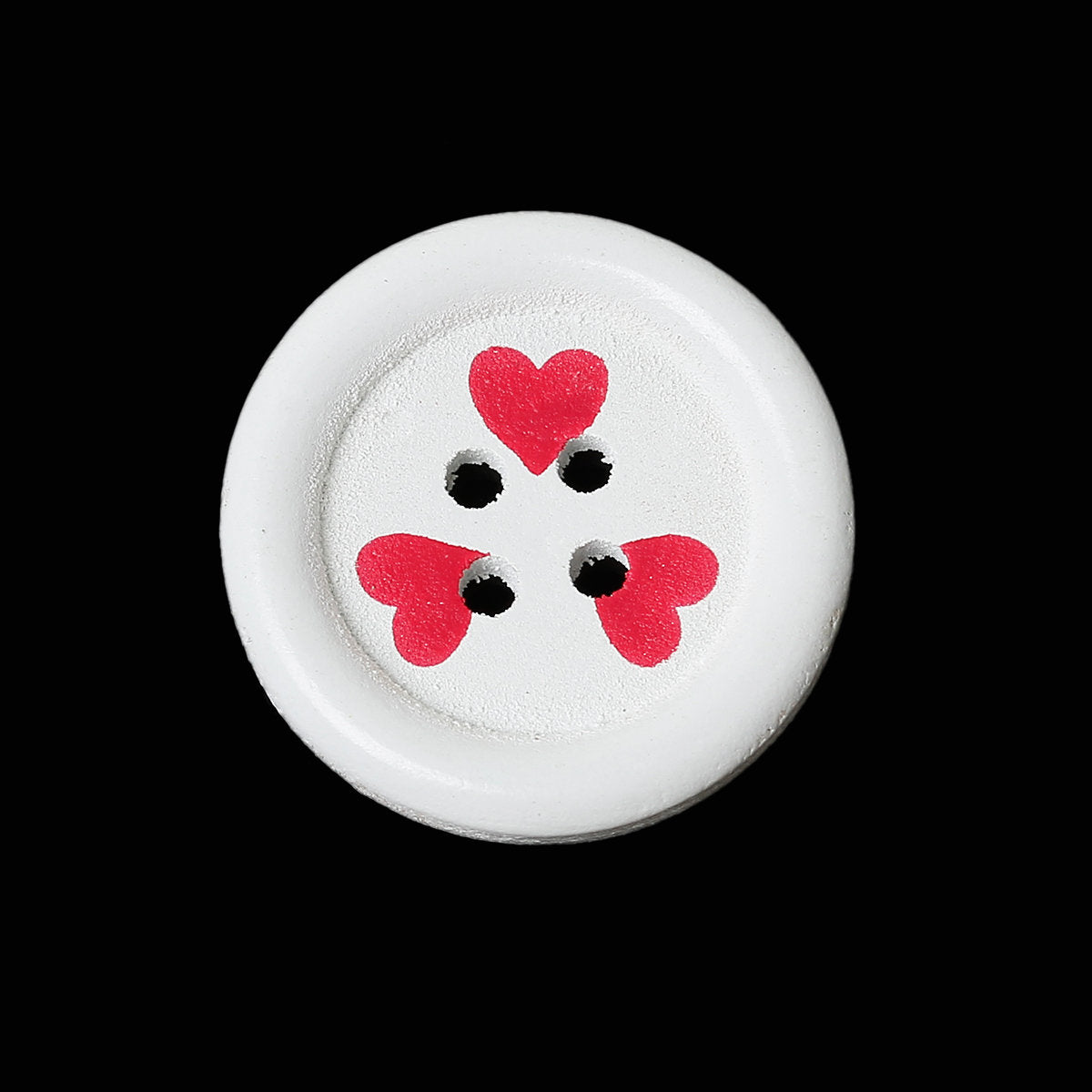 Wooden Buttons - White with Red Hearts Valentine's - 23mm (Approx 1 inch) - 4 Holes