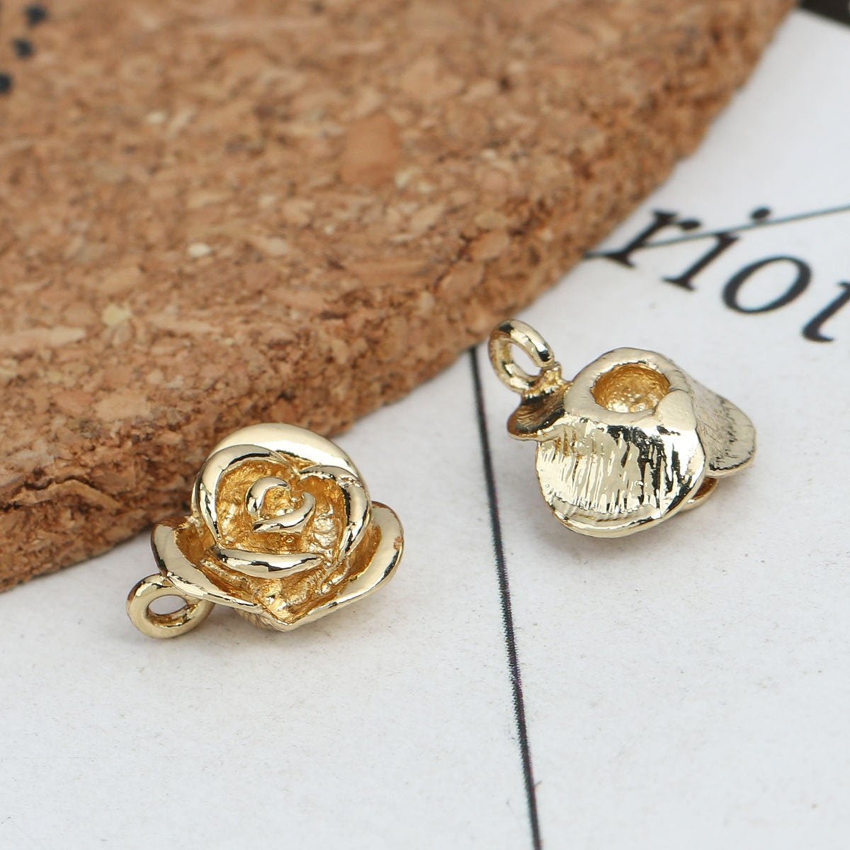 2 Gold Plated Rose Flower Pendants - 11mm x 9mm - Hole: 2mm