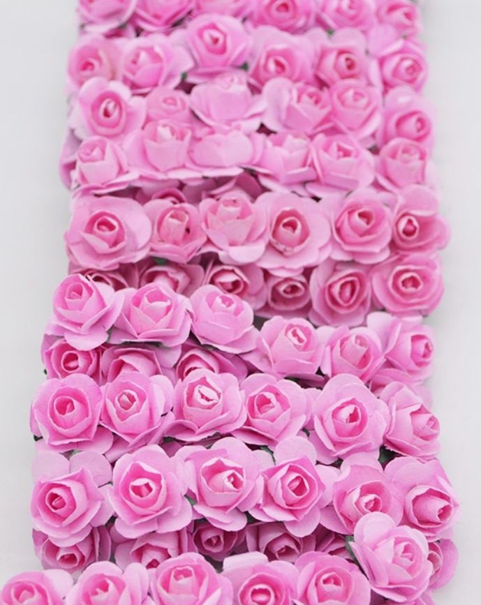 Pink Mini Paper Flowers - 15mm - Small Paper Roses