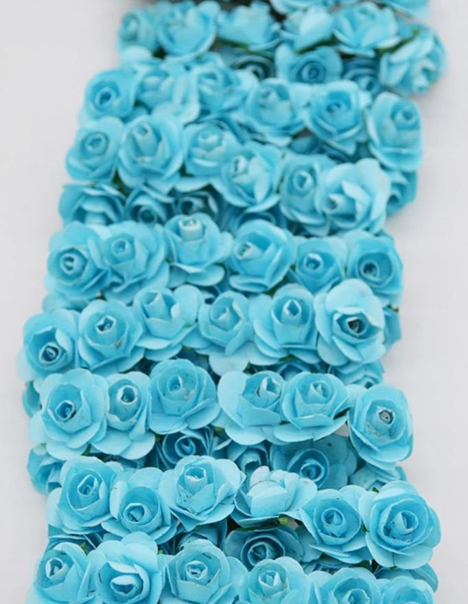Blue Mini Paper Flowers - 15mm - Small Paper Roses