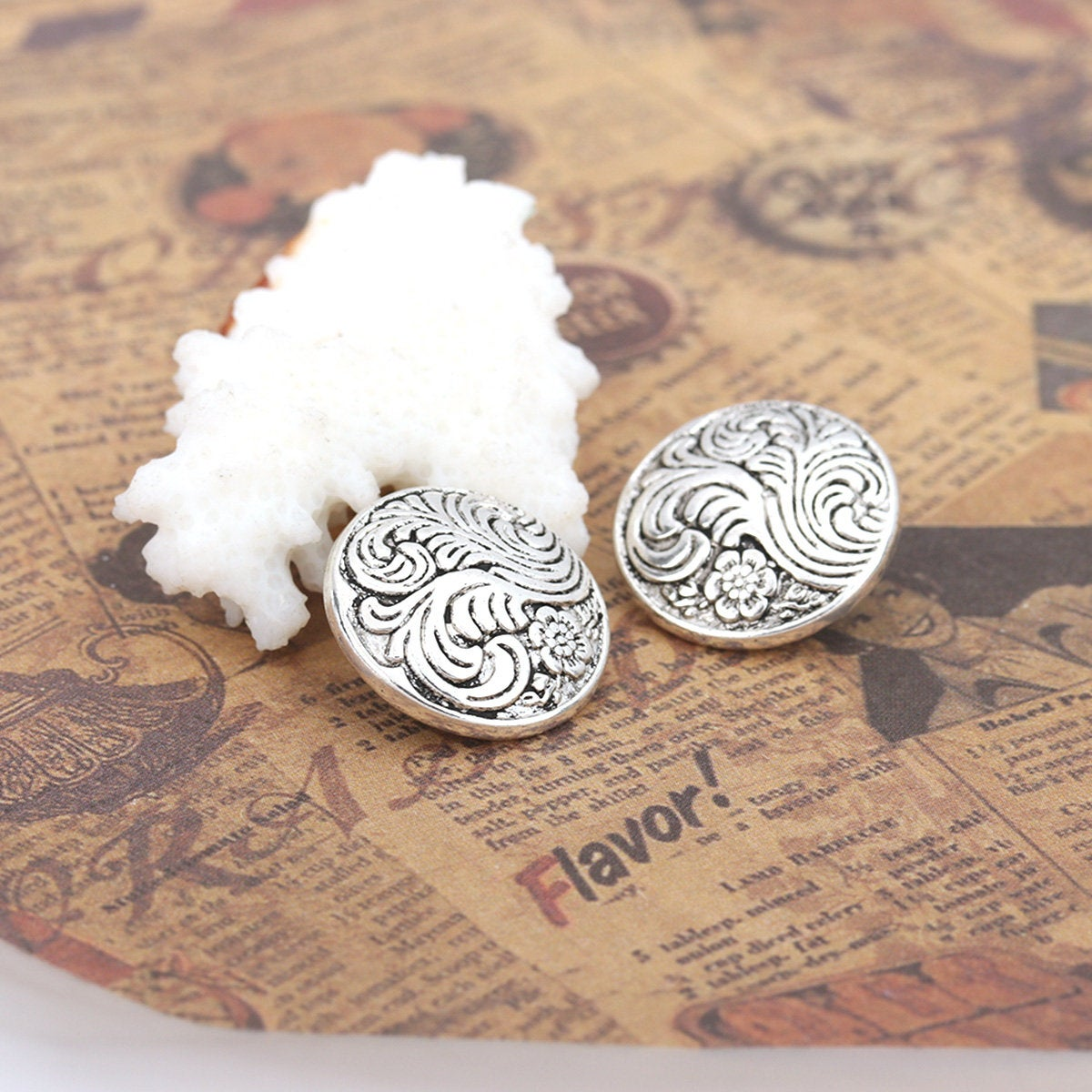 Silver Metal Sewing Buttons Round - Carved Flower - Lead and Nickel Free - Antique Silver - Shank