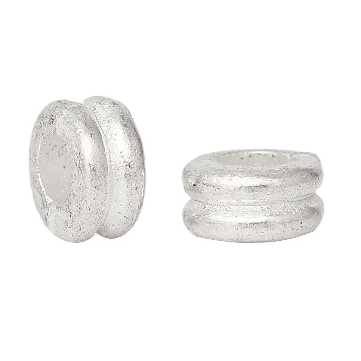 Silver Plated Slider Spacer Beads - 6.0mm x 3.0mm