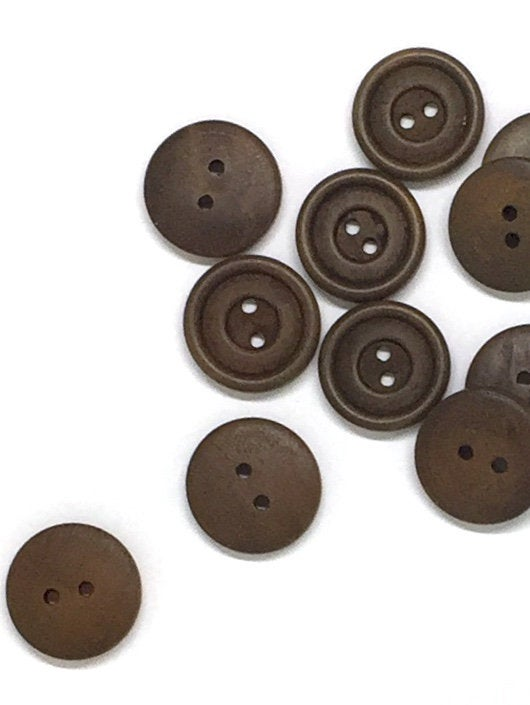 Brown Wooden Buttons - 20mm - 3/4 inch - 2 Hole - Wood Button (butt