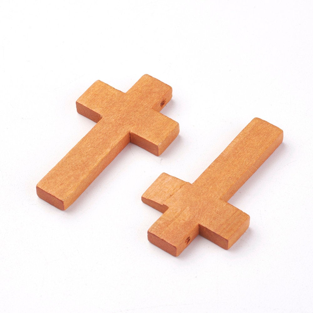 50 Wood Cross Pendant, Brown Wood Cross, Easter Crafts, Wooden Cross, Pendant, 42mm x 24mm (1.5 inch x 1 inch) (WOOD-S037