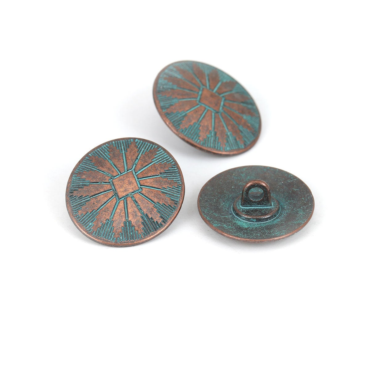 Metal Shank Sewing Buttons - Round Antique Copper Patina - 25mm x 22mm - Metal Buttons