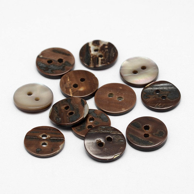 Flat Round Shell Buttons - Brown - Earth Tones - 13 (1/2 inch) x 2mm - 2