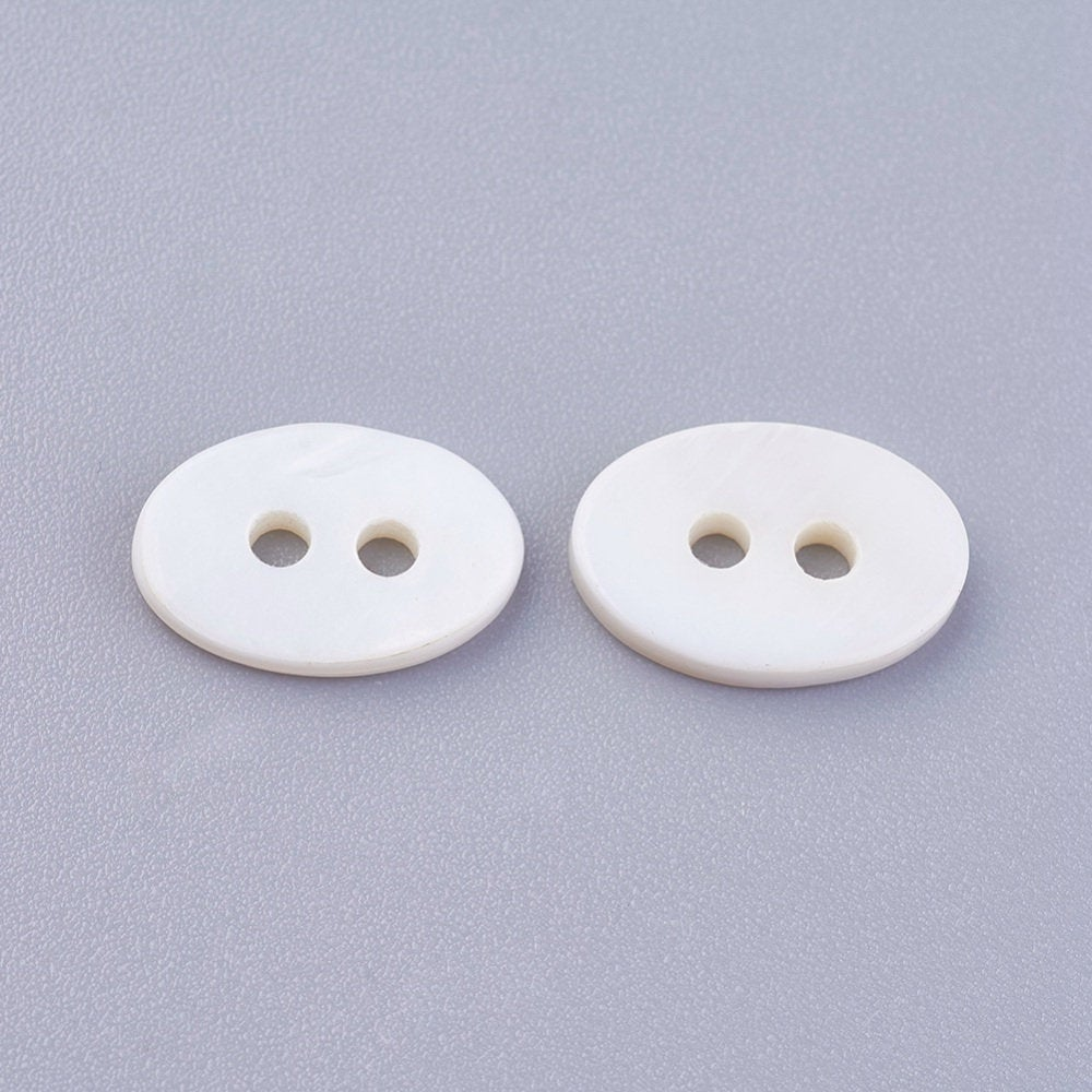 Oval Shell Buttons - Oval - White -  12mm (1/2 inch) x 8mm (3/4 inch) ~ 2mm Thick -  Hole: 1.6mm (BSHE
