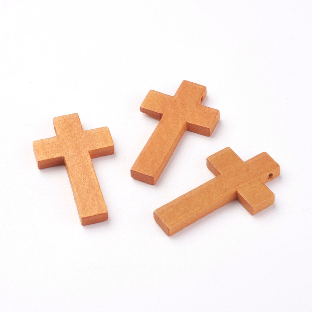 25 Wood Cross Pendant, Brown Wood Cross, Easter Crafts, Wooden Cross, Pendant, 42mm x 24mm (1.5 inch x 1 inch) (WOOD-S037