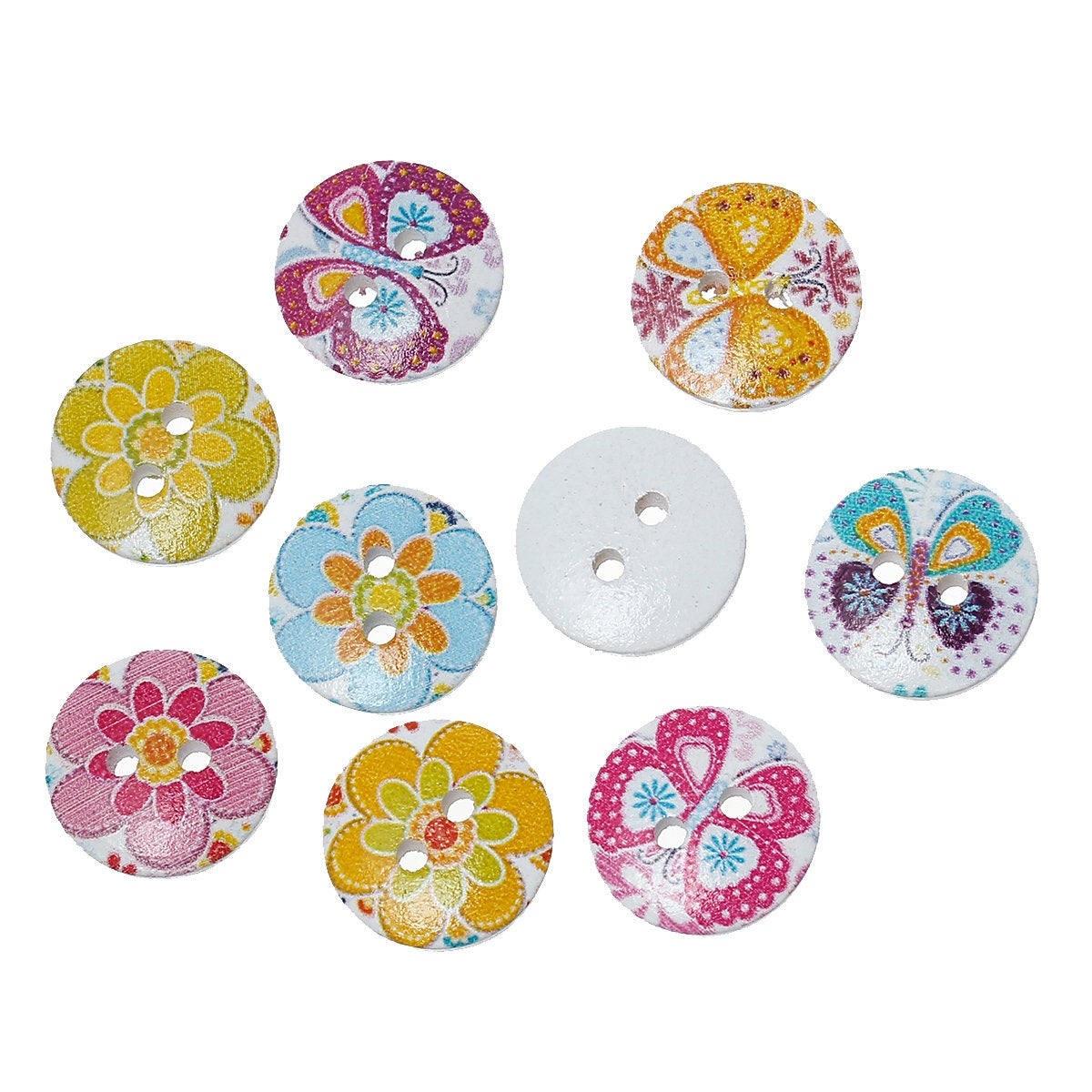 Mixed Color Flowers and Butterflies Wooden Buttons - 15mm (5/8 inch) - Multi Color - 2 Hole - Mixed Wood Button (66879)