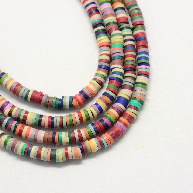 Heishi Beads (One Strand 380 - 400 Beads) - 6mm - Polymer Clay Bead - Mixed Color