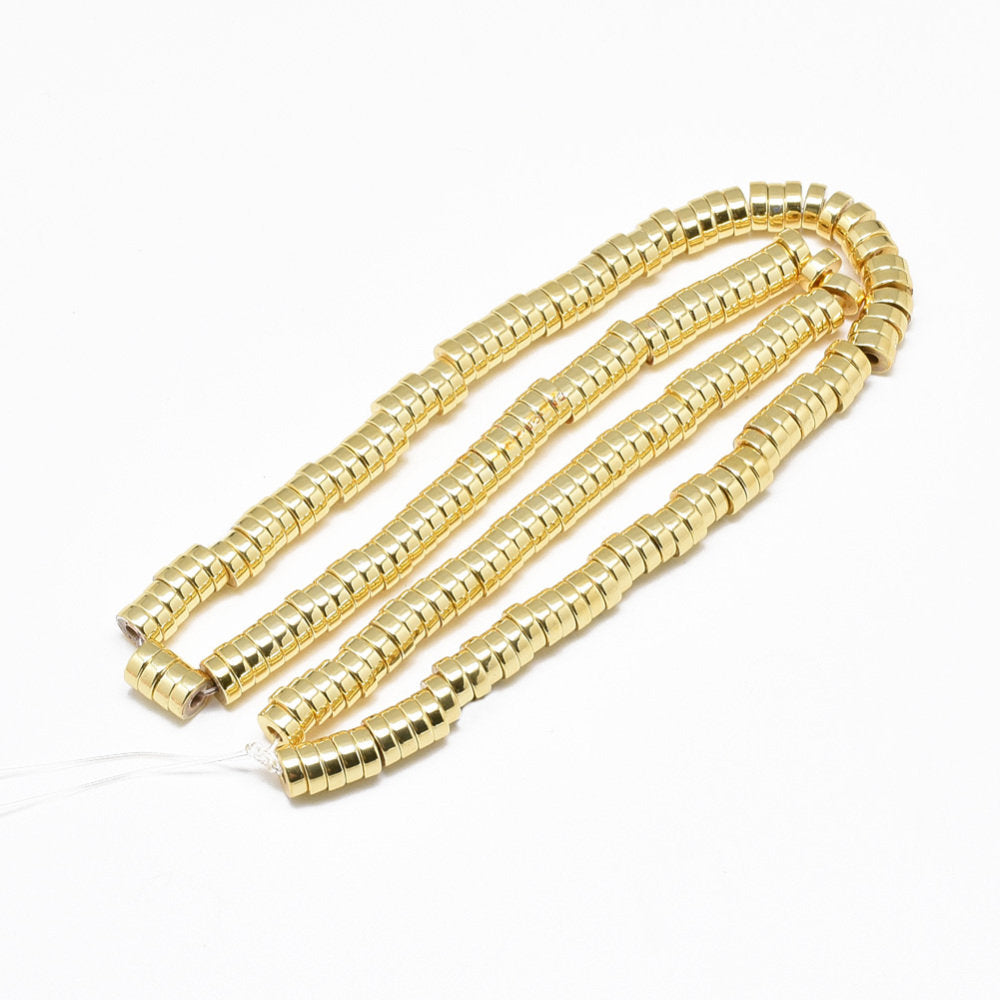 Gold Plated Strand of Beads,  Heishi Beads, Flat Round Disc, Gold Plated, 6mm x 2mm, Approx. 175 Beads, Approx. 16 inch Strand  (37G)