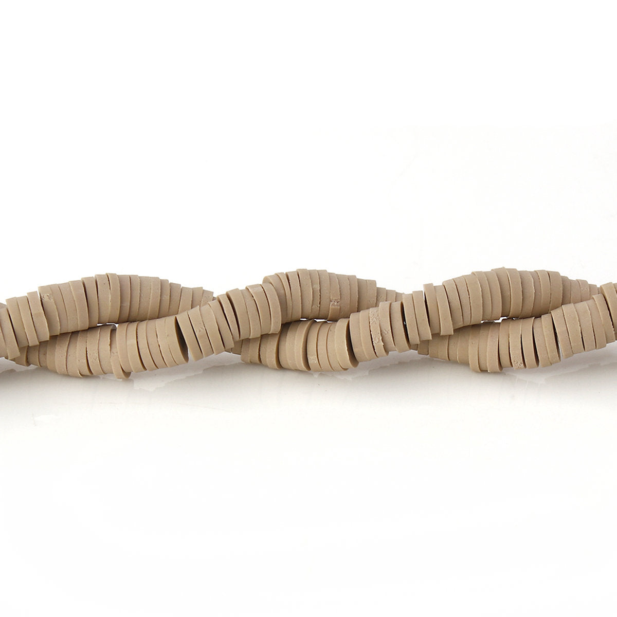 Light Brown Khaki Heishi Beads (One Strand 300 Beads) - 5mm - Polymer Clay Bead - Vinyl Disc Beads - Fimo Bead - African Beads (142)
