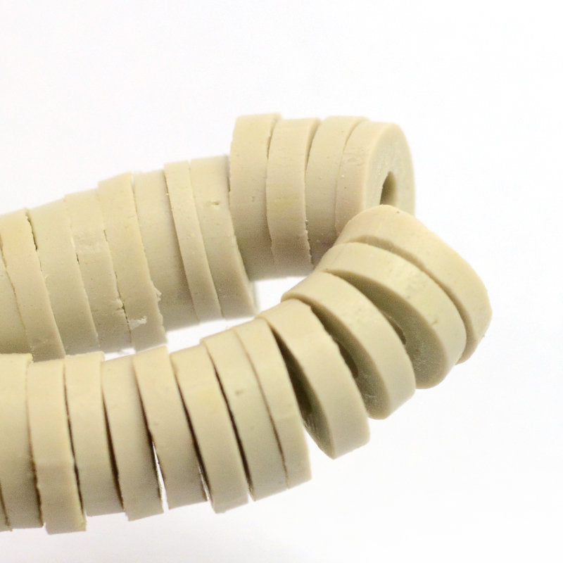 Light Beige Heishi Beads (One Strand 380 - 400 Beads) - 6mm - Polymer Clay Bead - Light Beige