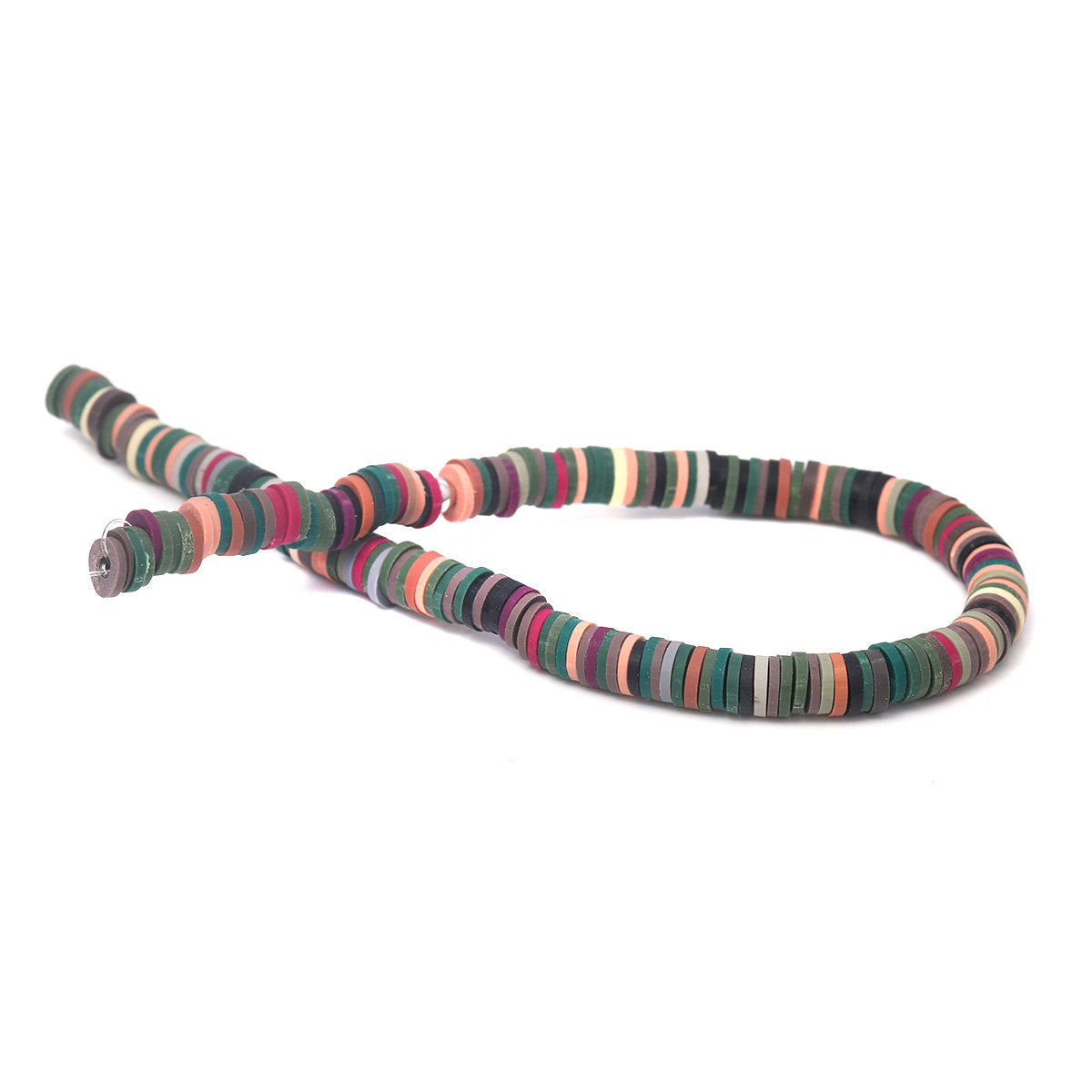 Heishi Beads 6mm (One Strand 380 - 400 Beads) - Polymer Clay Bead - Mixed Color - Fimo Bead - African Beads (217784)