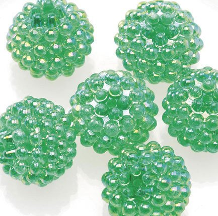 Jewelry Resin Ball Bead Green 16mm Pkg of 6