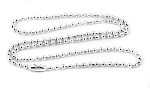 "100 24"" Silver Ball Chain Necklace with Connector - 24 inch - 2.4mm - 100 Ball Chains"
