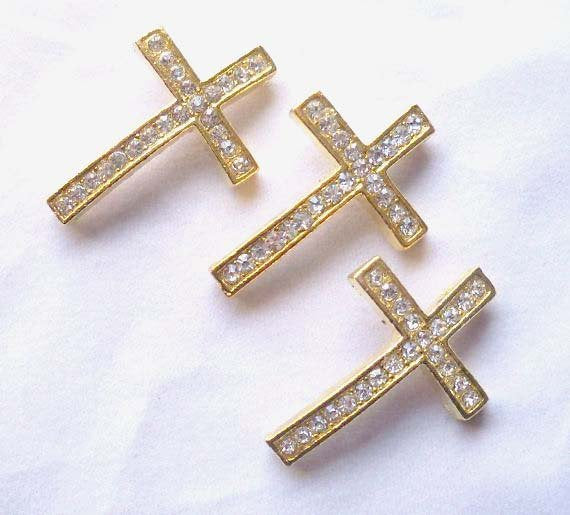 Rhinestone Sideways Cross Connectors Links Gold Crystal 27mm x 24mm - 3 rhinestone cross connectors or links