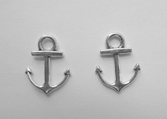Anchor Connector Charms - Shiny Silver - 18mm x 15mm x 2mm - Cadmium, Nickel, and Lead Free (TIBEP-Q035