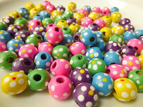 Wood Bead, Multicolored, 11x10mm Round with Painted Flowers and Dots Pkg/50