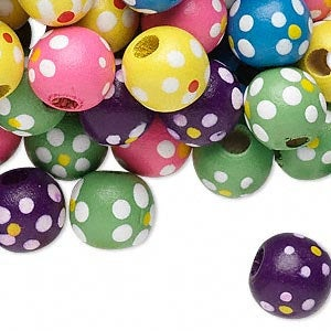 Wood Bead, Multicolored, 11x10mm Round with Painted Flowers and Dots Pkg/25