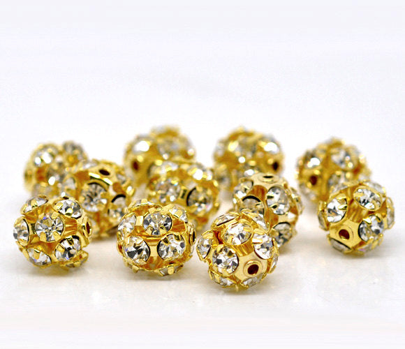 10 Gold Plated Rhinestone Disco Ball Spacer Bead 10mm (00521)