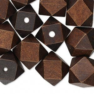 5 Wood Beads in Dark Brown - Cube - Faceted - 20mm