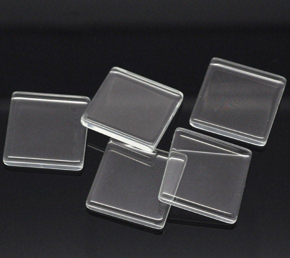 10 - 25mm Clear Glass Cabachons, Glass Square Flat  Tiles - Square