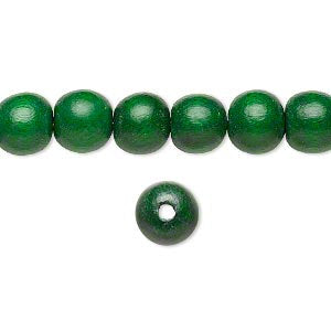 10 Wood Beads, Green, Round, 8mm, Pkg/10