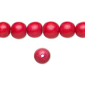 10 Wood Beads, Red, Round, 8mm, Pkg/10