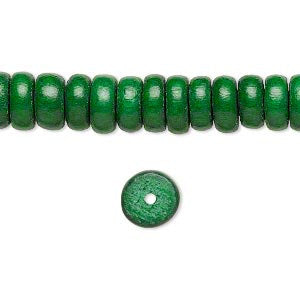 Wood Bead - Rondelle - Green - 8mm x 4mm